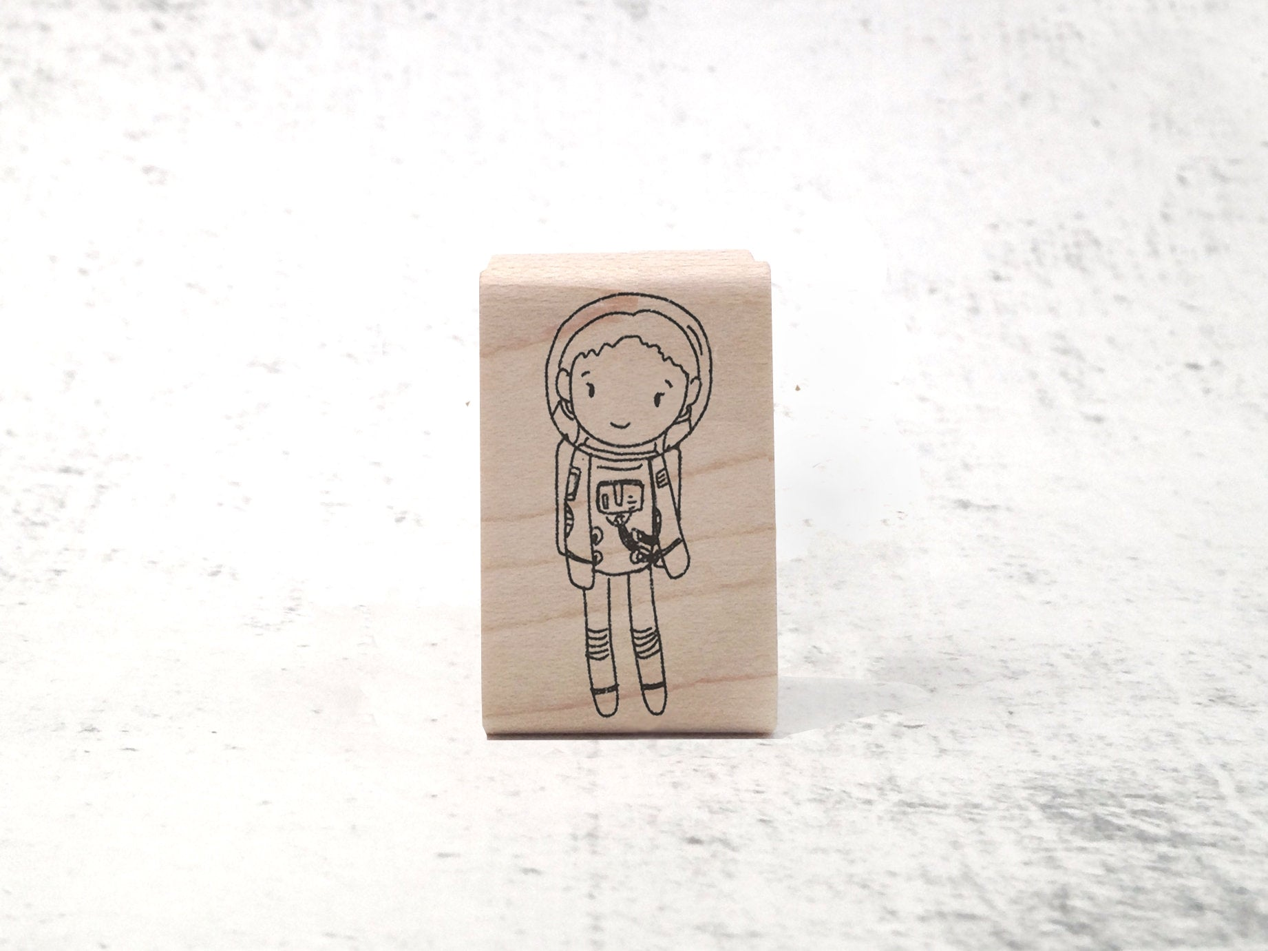 The Astronaut Girl - Childrens Astronaut & Astronomy Stamp -  Space Rubber Stamp
