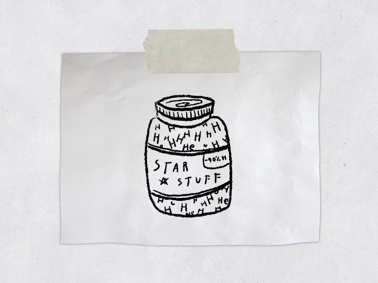 Star Stuff Jar - Celestial Astronomy Stamp - Made of Stars - Geek Gift Stationary - Physics / Space Rubber Stamp