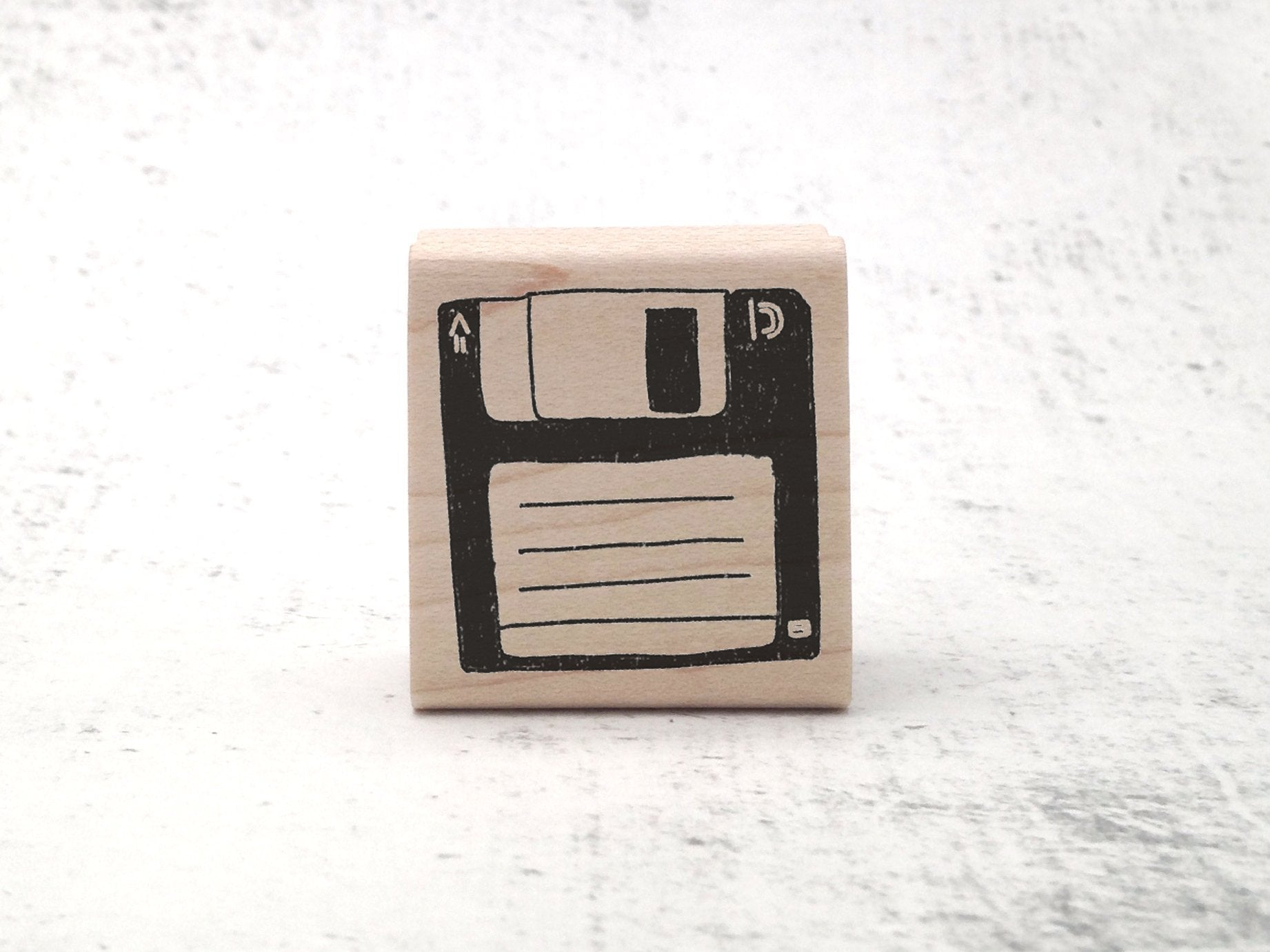 The Not So Floppy Disk Stamp - Retro Rubber Stamp - Diskette Stamp - 80s and 90s Rubber Stamps