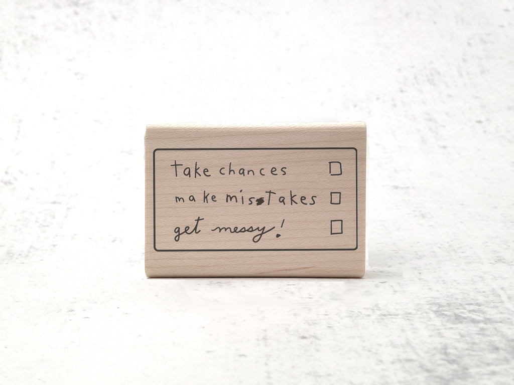 The Ms. Frizzle Stamp - Inspirational Rubber Stamp - Motivational Teacher's Grading Stamp - Take Chances, Get Messy, Make Mistakes