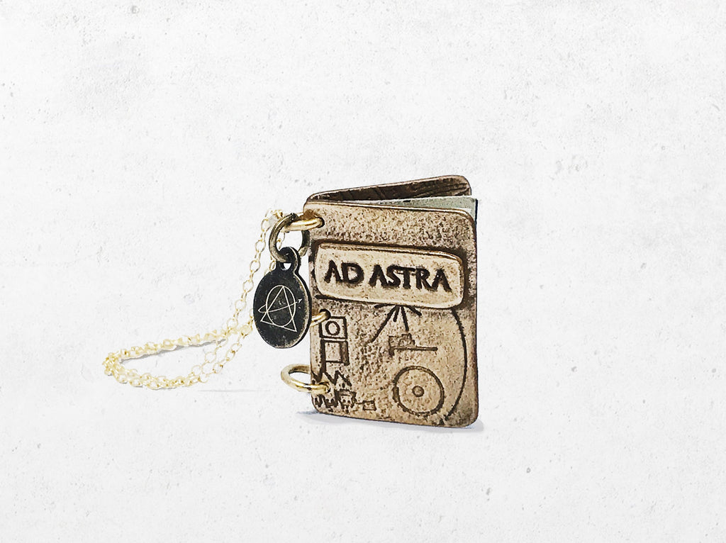 Ad Astra Book Pendant - Custom Astronomy Keepsake Locket Necklace - Men's / Women's Personalized Celestial Book Gift