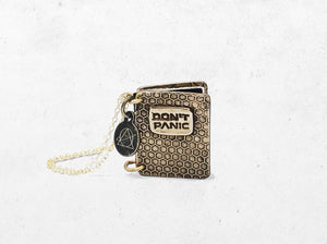 Don't Panic Book Pendant - Custom Hitchhiker's Guide Keepsake Locket Necklace - Men's / Women's Personalized HHGTTG Book Gift