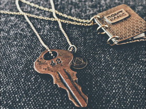 42 Key Pendant - Bronze Hitchhiker's Guide Sci-Fi Necklace - Men's / Women's HHGTTG Jewelry