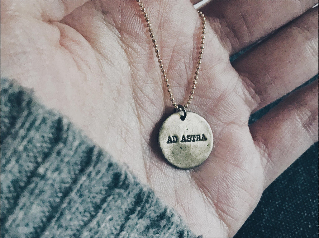 Ad Astra Pendant - Bronze To The Stars Necklace - Men's / Women's Celestial Jewelry