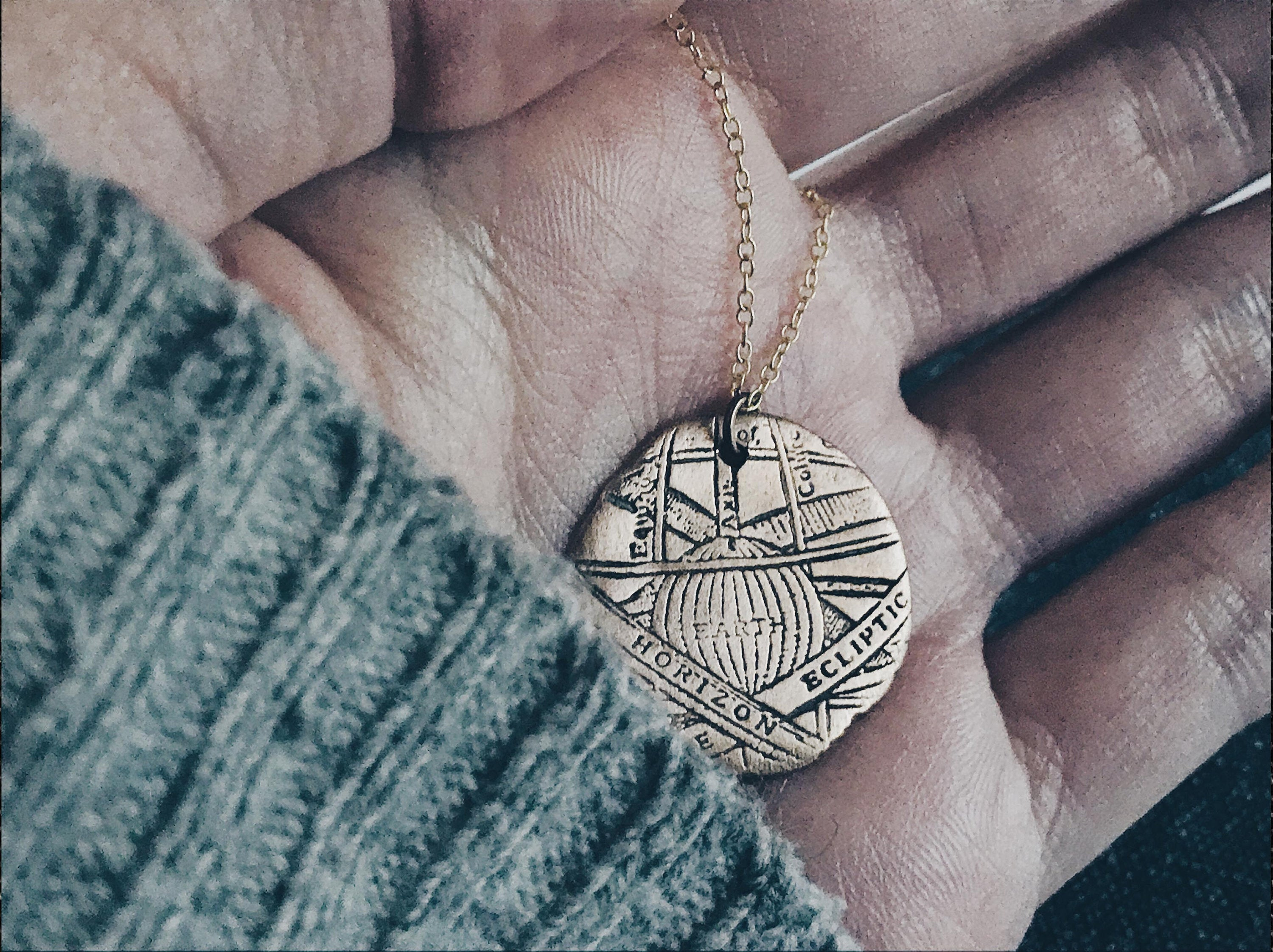 Astrolabe Medallion Pendant Necklace  - Bronze Astronomy Necklace - Men's / Women's Celestial Jewelry