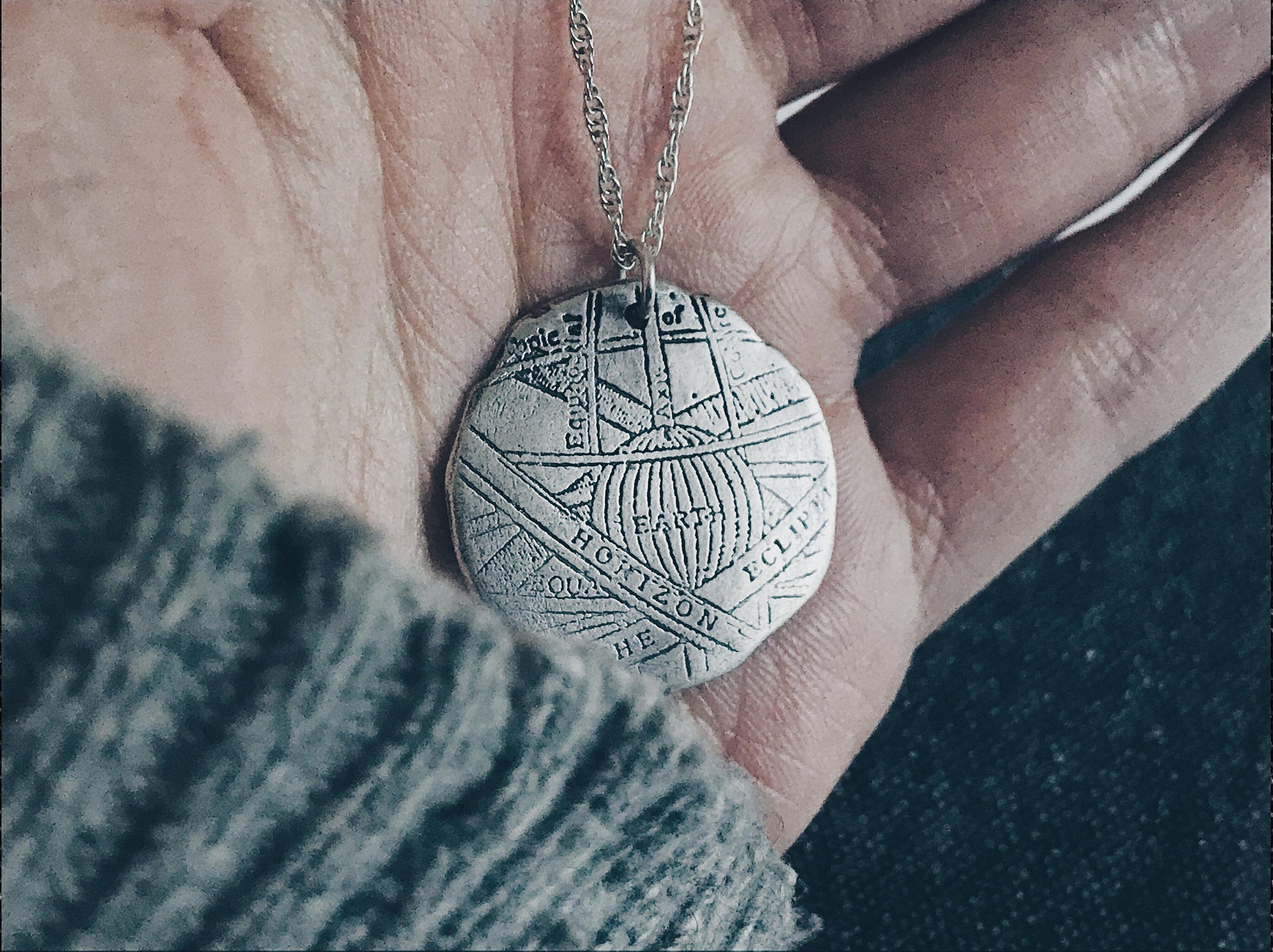 Sterling Silver Astronomical Medallion Necklace - Distressed Astrolabe Pendant - Men's / Women's Outer Space Jewelry