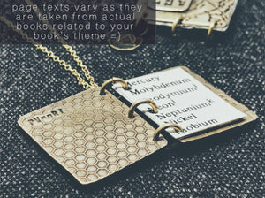 Handbook of Chemistry Lab Book Pendant - Custom Science Keepsake Locket Necklace - Men's / Women's Personalized STEM Book Gift
