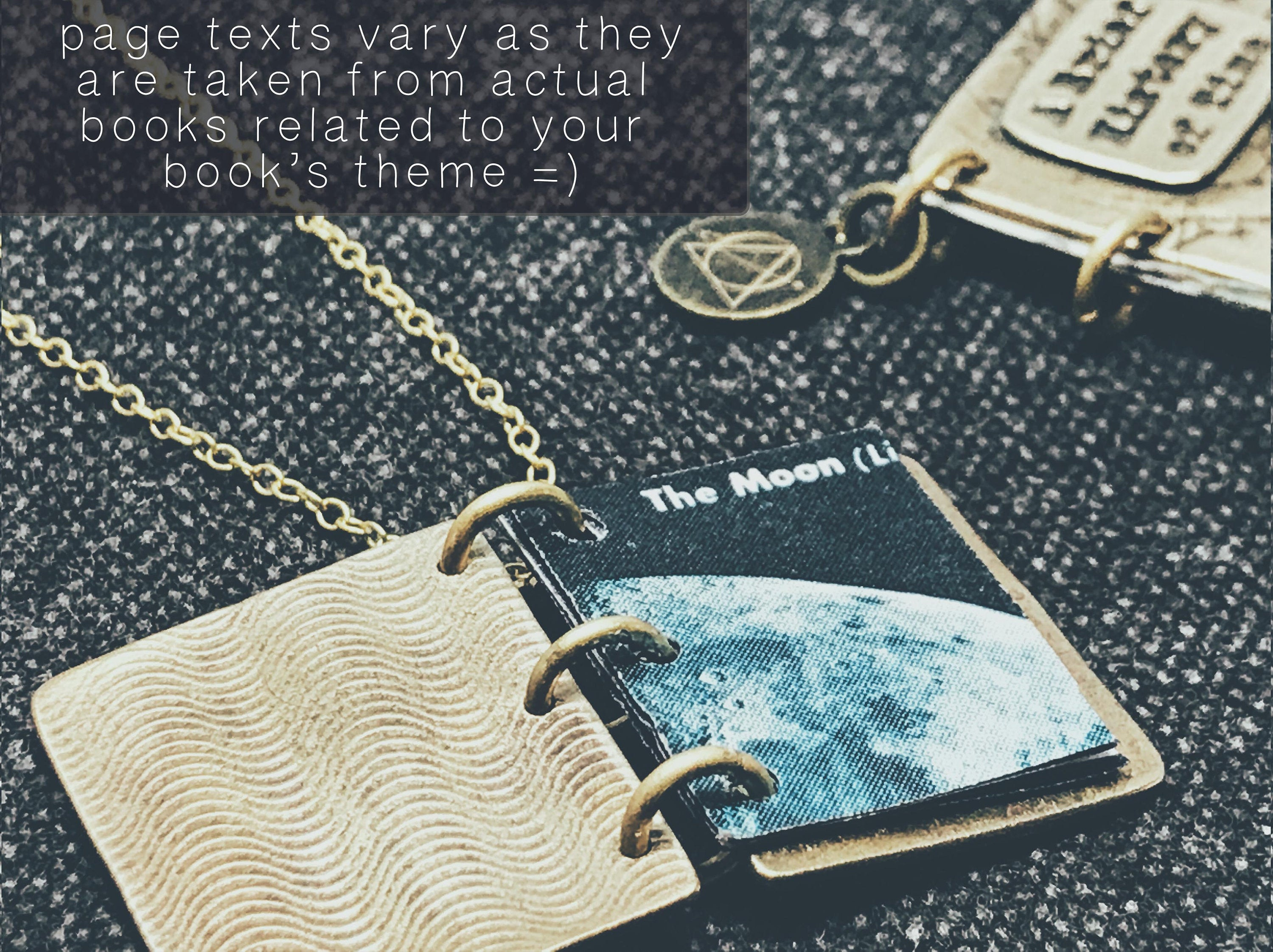 Love You To The Moon - Book Locket - Celestial Keepsake Pendant Necklace - Personalized Astronomy Book Gift