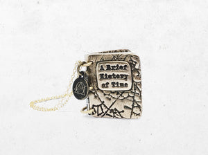 Brief History of Time Book Locket - Stephen Hawking Inspired Keepsake Pendant Necklace - Men's / Women's Personalized Astronomy Book Gift
