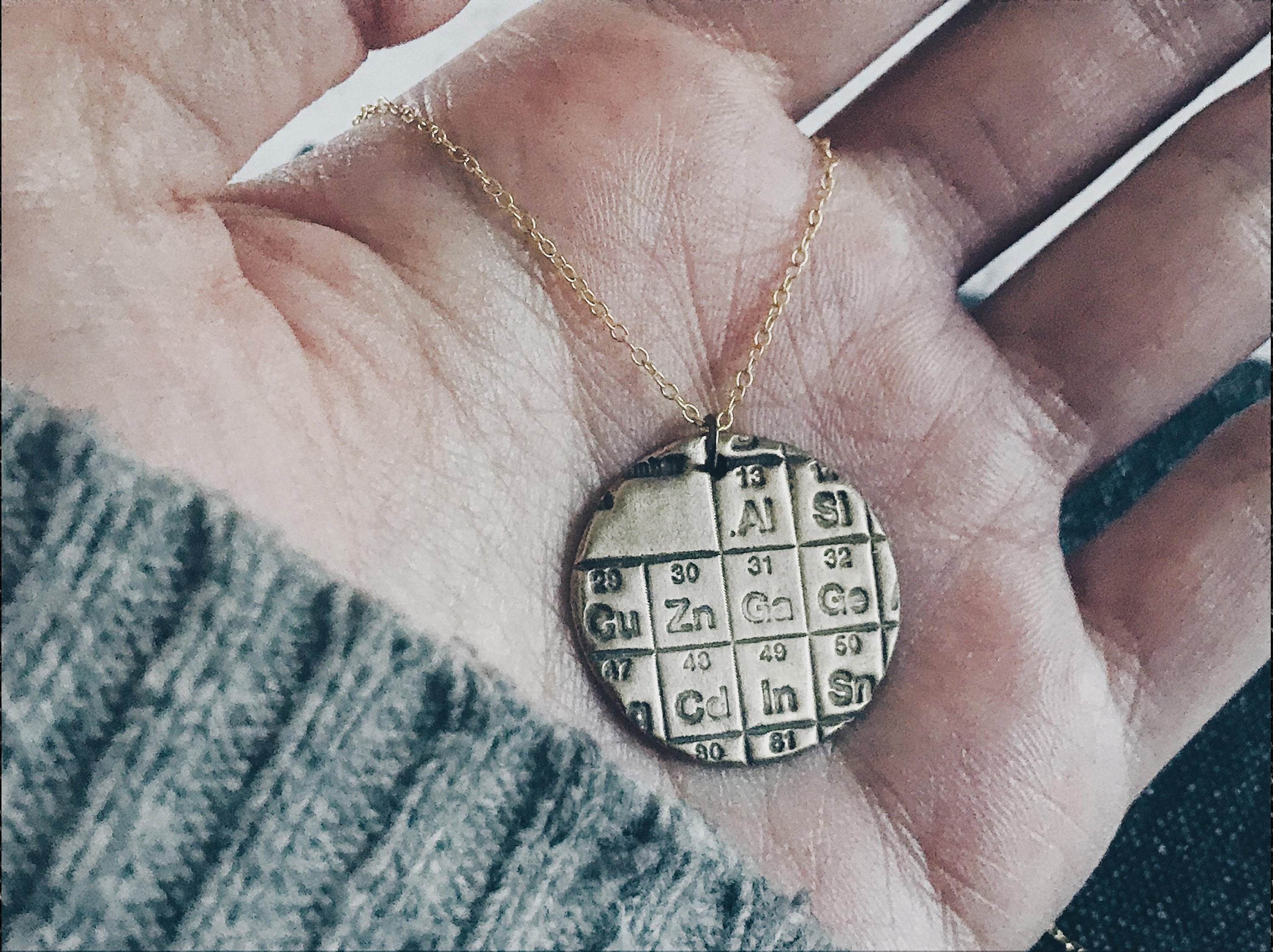 Periodic Table Medallion Necklace  - Minimal Bronze Science Pendant Necklace - Men's / Women's Chemistry and Physics Jewelry