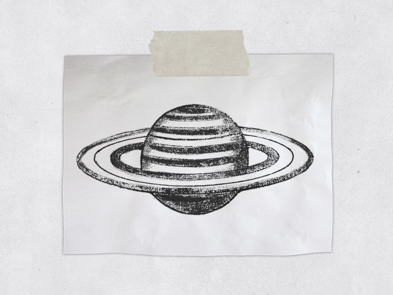 The Vintage Saturn Rubber Stamp - Space / Astronomy Rubber Stamp - Bullet Journal Planet Stamp