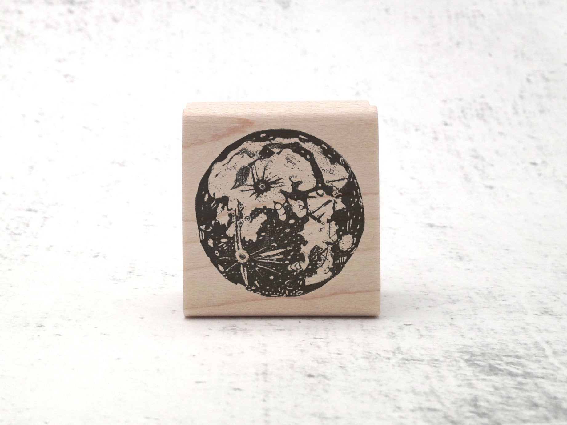 Moon Woodcut-Style Stamp - Astronomy / Celestial Rubber Stamp - STEM / Outer Space Stationary
