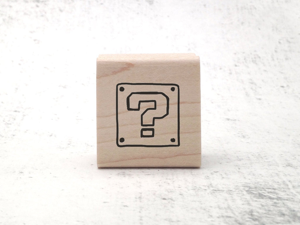 Mystery Block Stamp - Video Game - Gamer Retro Rubber Stamp - Pen Pal Stationary Stamp