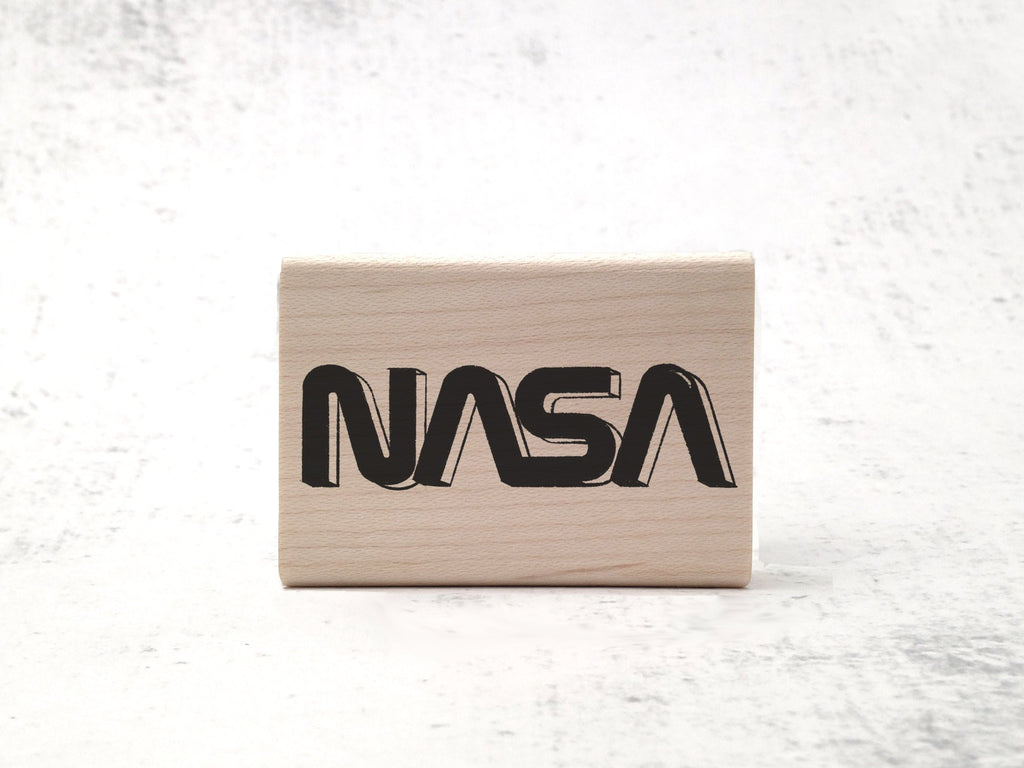 Retrofuturist NASA Stamp - Space Logo & Astronomy Rubber Stamp - Outer Space Planet Stamp
