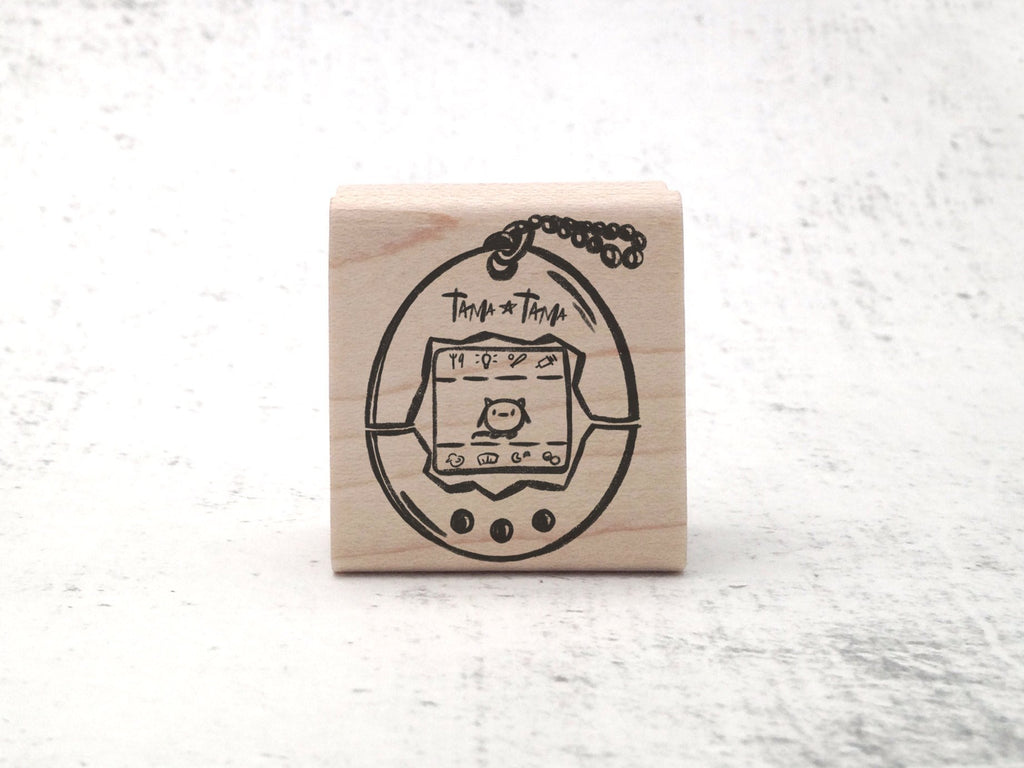 Tama-Tama! Electronic Pet Stamp - Video Game - Gamer Retro Rubber Stamp - Stamp