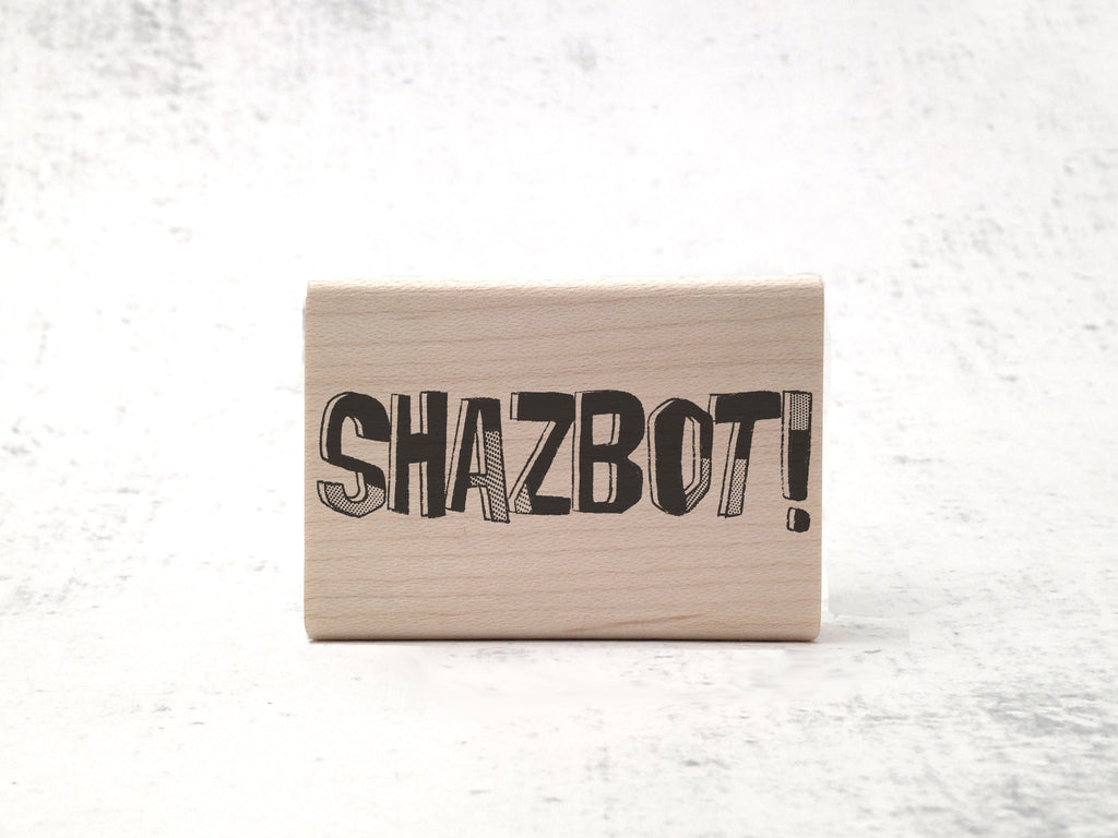 Shazbot! Rubber Stamp - Retro TV Show Stamp - Mork & Mindy Quotation