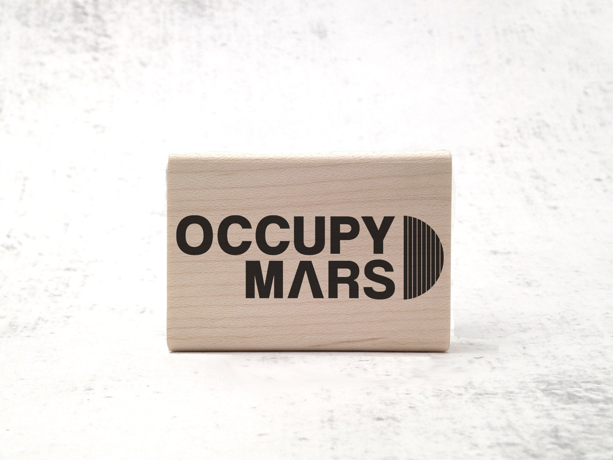 Occupy Mars - Space Logo & Astronomy Rubber Stamp - Martian Astronaut Stamp