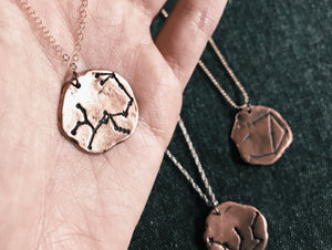 Handmade Bronze / Sterling Silver Zodiac Constellation Pendant  - Celestial Aesthetic Medallion Necklace - Space / Astronomy Jewelry