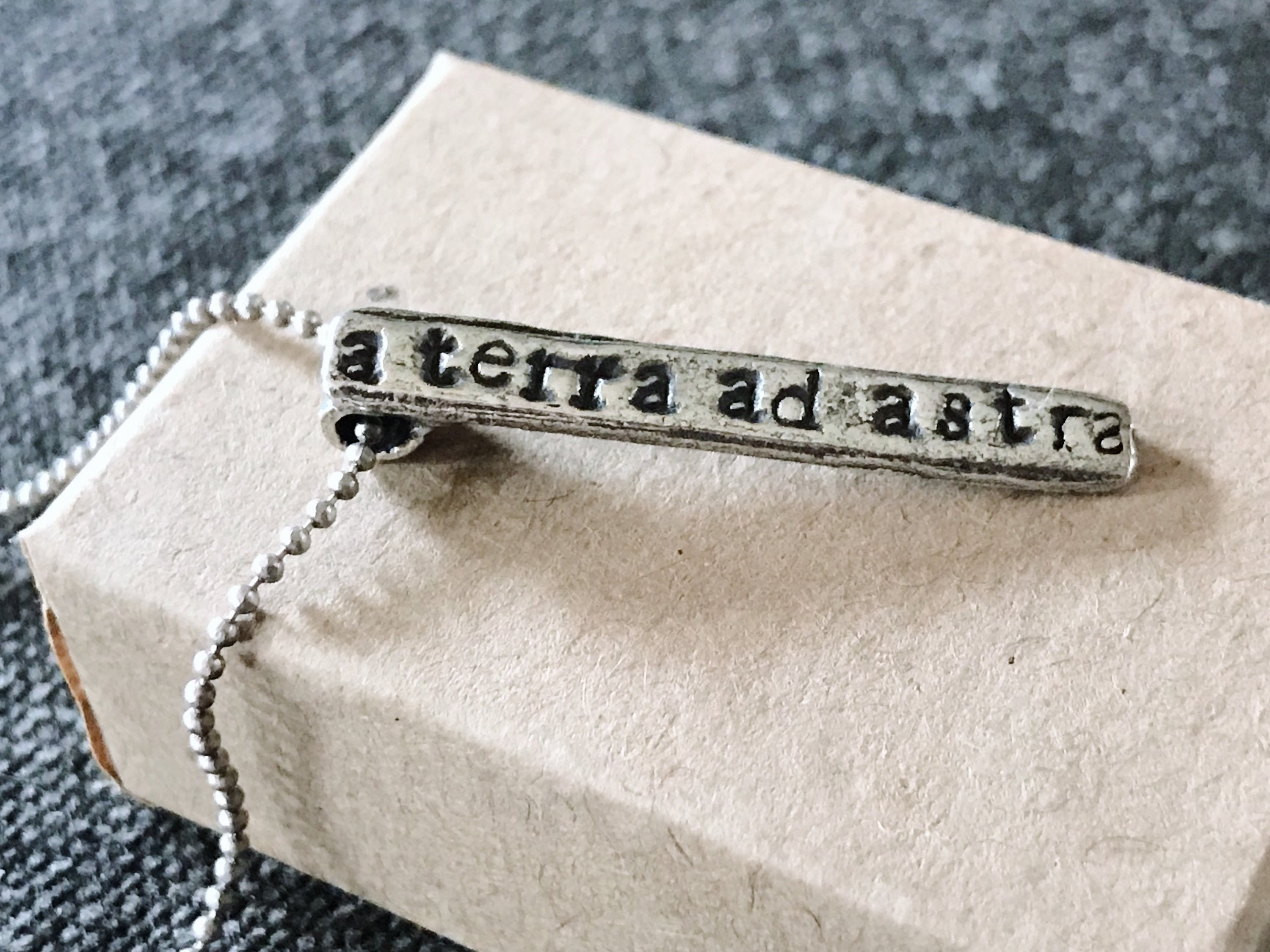 A Terra Ad Astra Pendant  - From The Earth To The Stars Necklace - Space / Astronomy / Celestial Jewelry