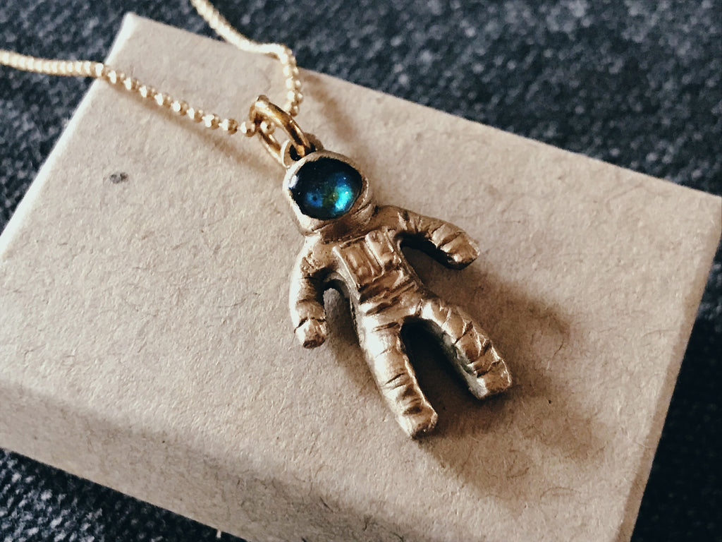 Astronaut Meteorite Mood Necklace- Meteorite Dust Jewelry Gift For Him and Her- Bronze & Sterling Silver Space Pendant