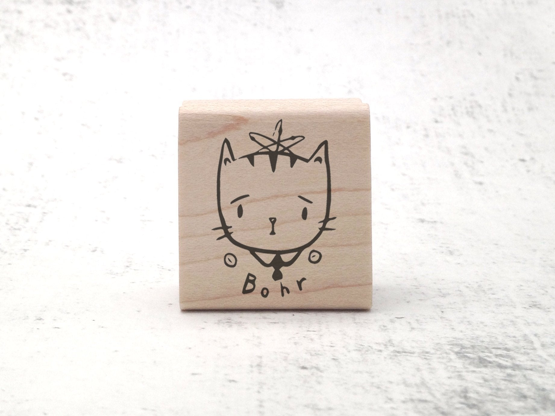Nikola Tesla, Niels Bohr, Marie Curie Science Cats Rubber Stamp - Chemistry / Physics Rubber Stamp - Teacher Grading Stamp - Geek Stamp Gift