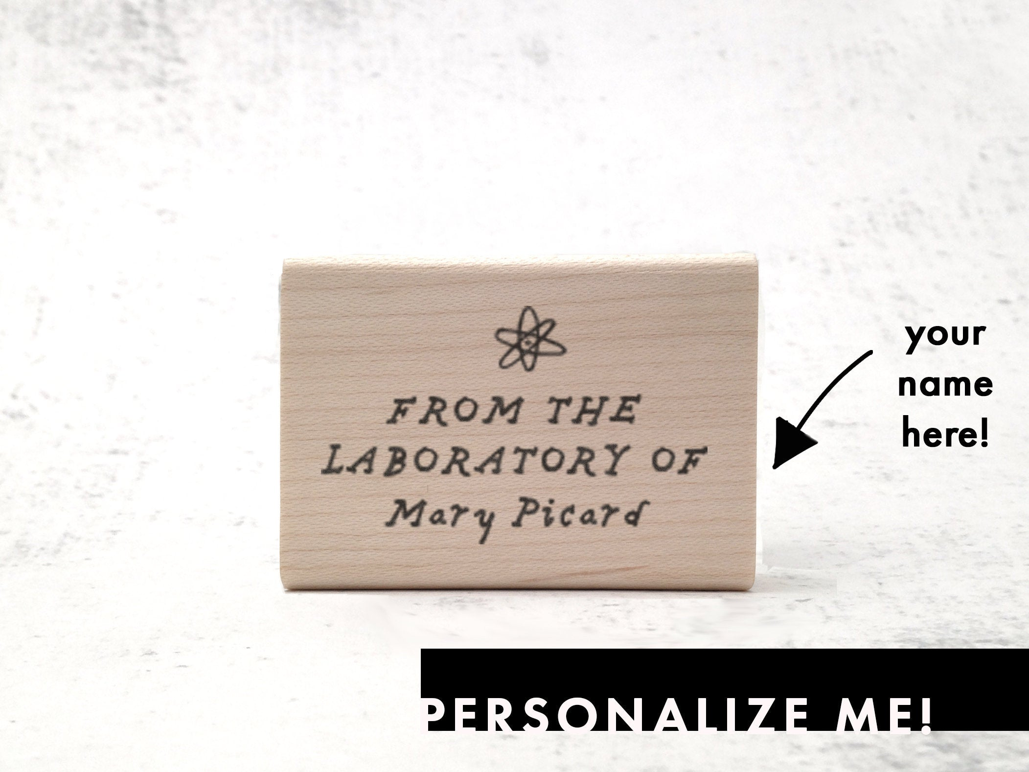 From the Laboratory Of Bookplate Stamp   - Custom Illustration Name Stamp - Ex Libris - Personalized Rubber Stamp