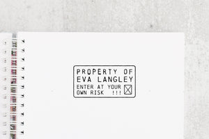 Property Of:  Bookplate Stamp - Custom Illustration Name Stamp - Ex Libris - Personalized Rubber Stamp