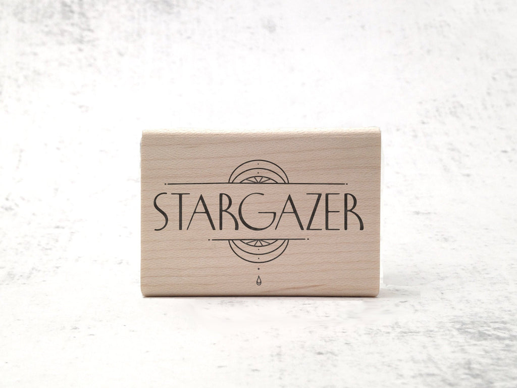 Art Deco Celestial Stargazer Stamp - 1920's Aesthetic  / Astronomy Rubber Stamp - Latin Outer Space Stamp