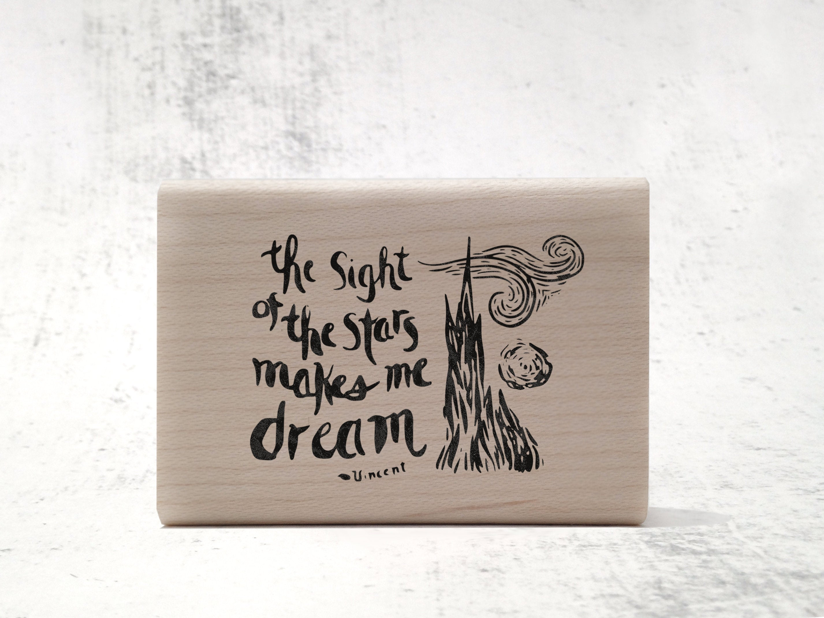 Van Gogh's Stars Woodcut Style Stamp - Illustrated Astronomy / Starry Night Celestial Rubber Stamp - Fine Art Stamp