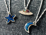 UFO Mood / Color Changing Meteorite Dust Necklace - Moon, Star, Saturn Sci Fi Jewelry - Sterling Silver Space Pendant
