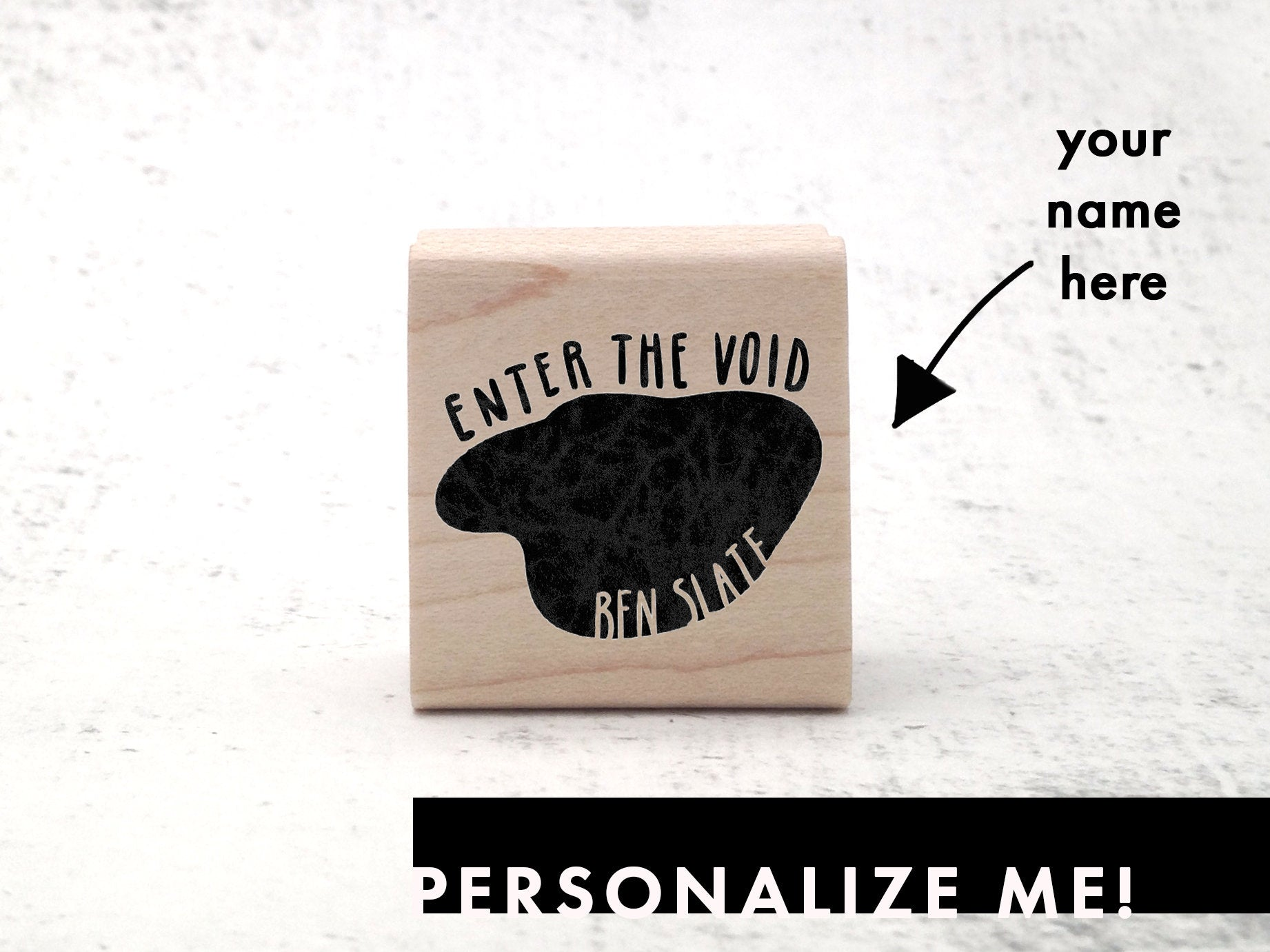 The Void - Illustrated Custom Name Stamp - Ex Libris Bookplate Stamp - Personalized Rubber Stamp - Pen Pal / Postcrossing Stamp