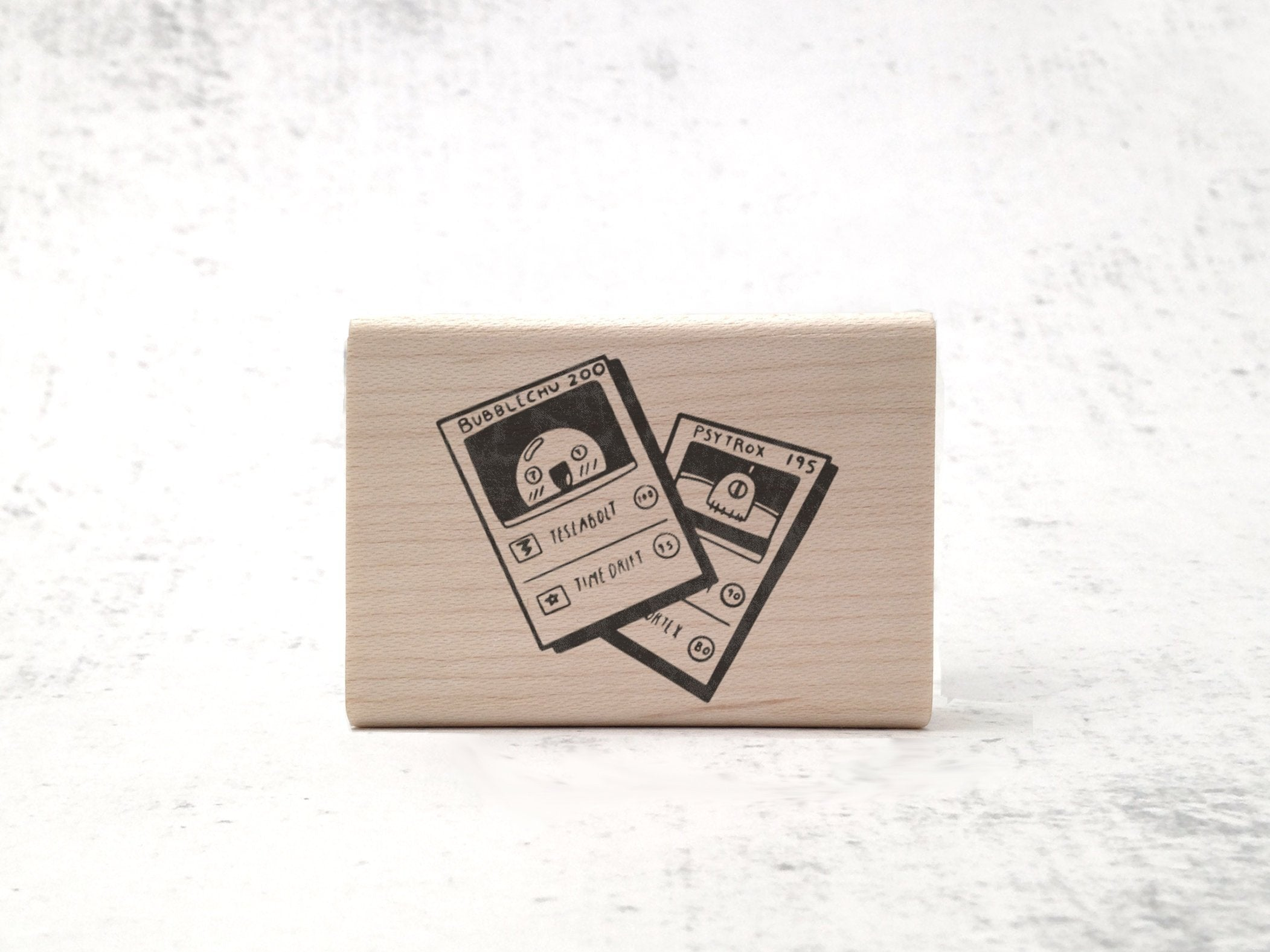 Bubblechu Creature Card Rubber Stamp - Card Game / Gaming Stamp - 90's Aesthetic Rubber Stamp