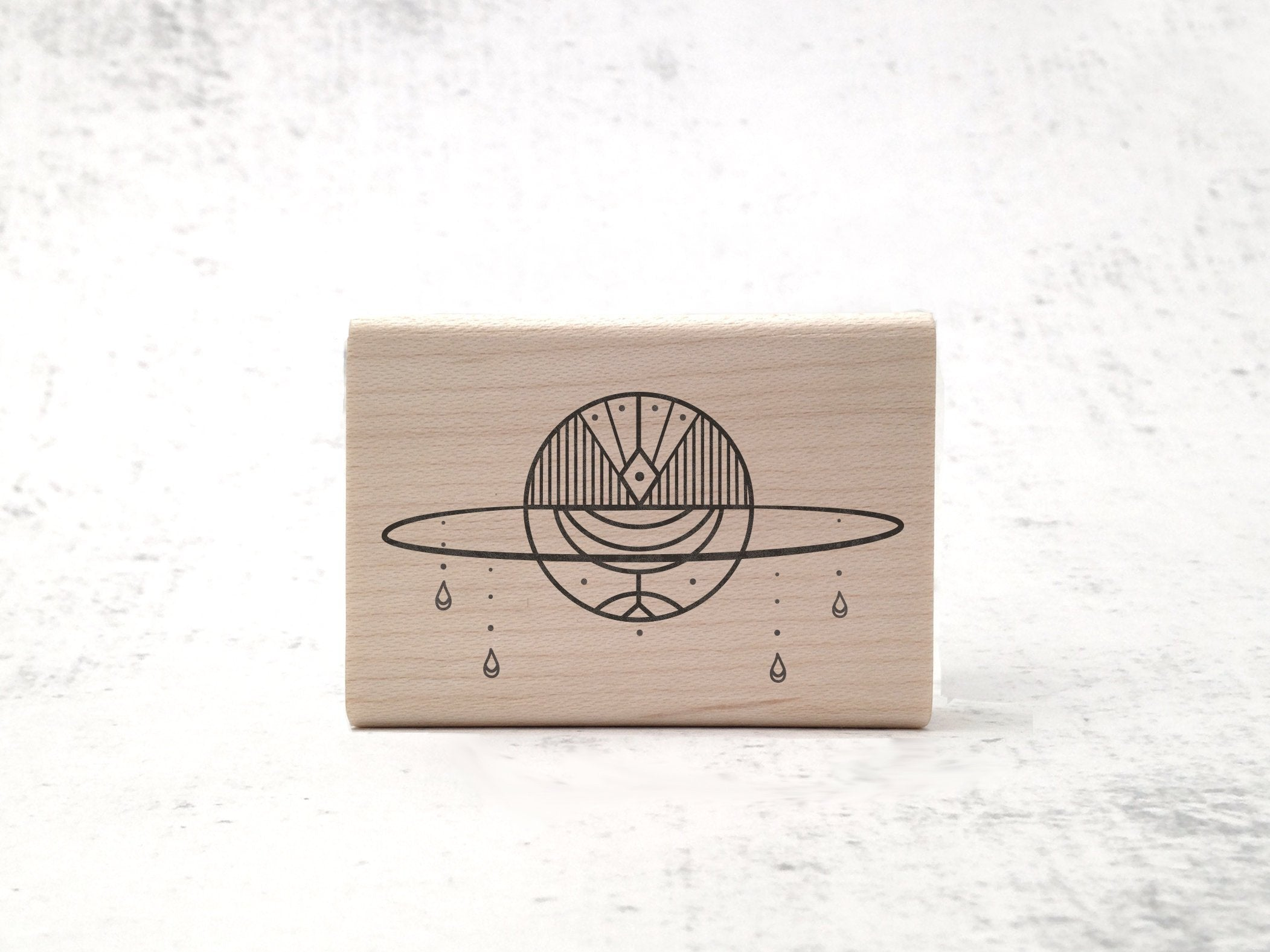 Art Deco Celestial Saturn Stamp - 1920's Aesthetic  / Astronomy Rubber Stamp - Latin Outer Space Stamp