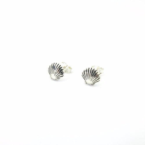 Tiny Calico Scallop Earrings