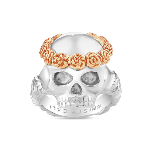 Smell The Roses Skull Ring 18K Gold