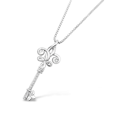 Fleur de Knot Skeleton Key with Diamonds - Small