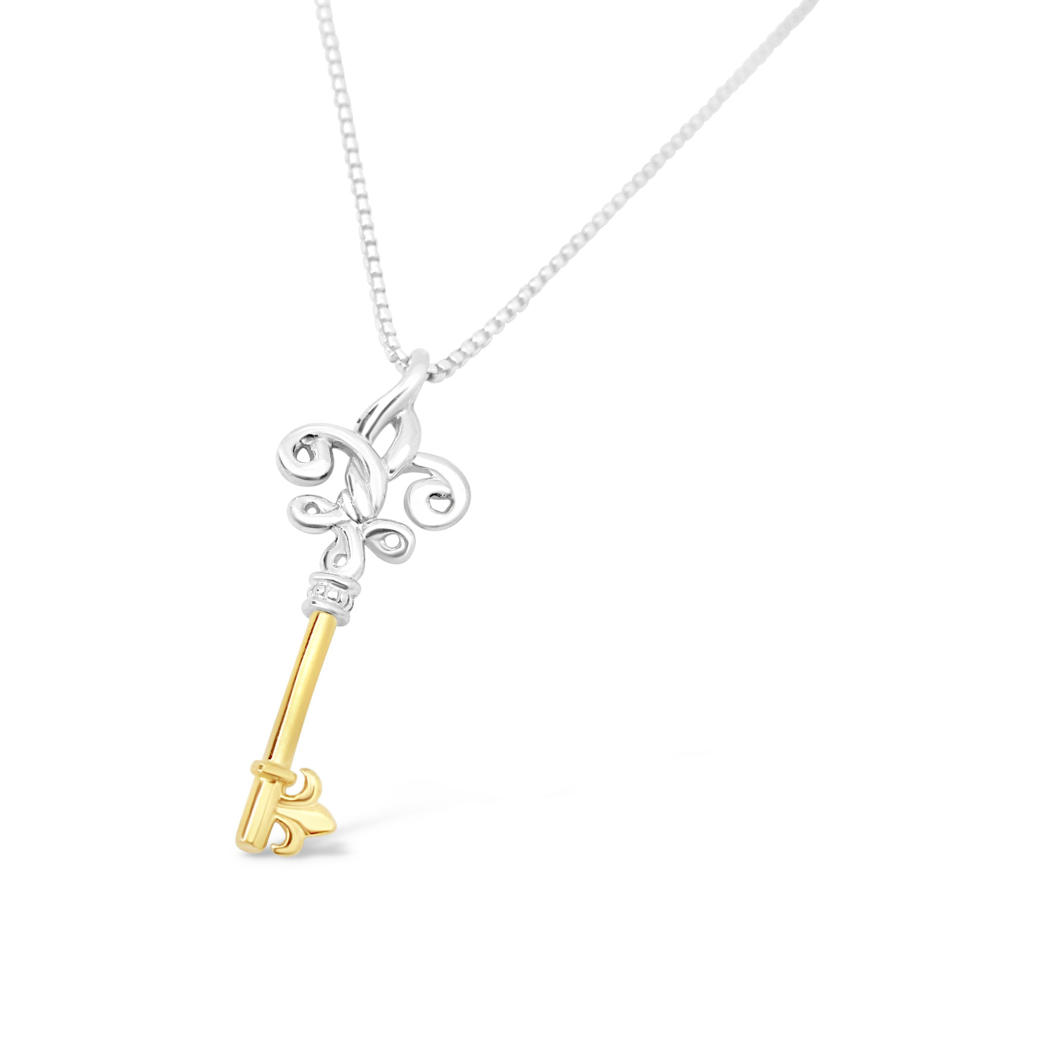 Fleur de Knot Skeleton Key Mixed 18K - Small