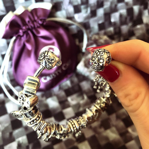 Precious Sugar Skull Cali Couture Bangle Bracelet