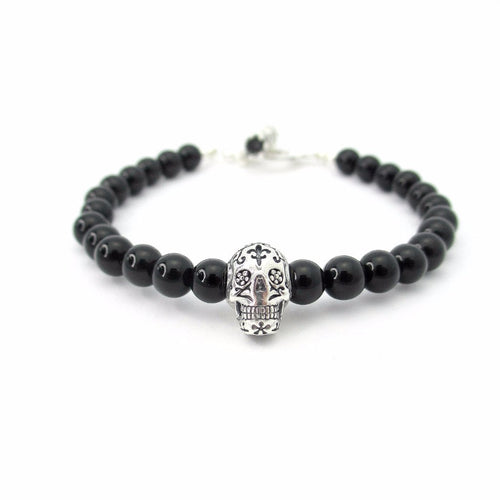 Black Onyx Sugar Skull with Toggle Clasp