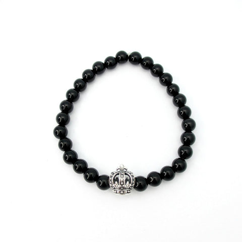 Black Onyx Crown Elastic Bracelet