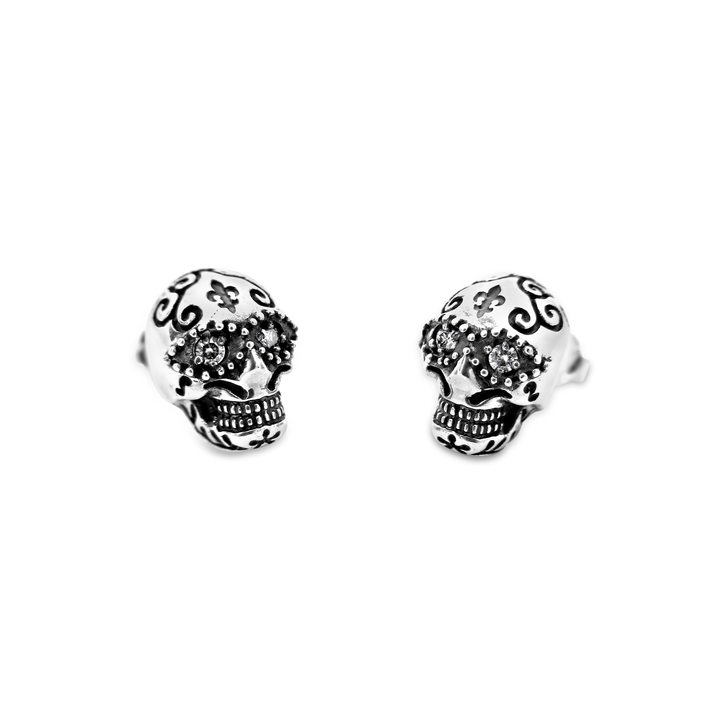 Diamond Sugar Skull Studs