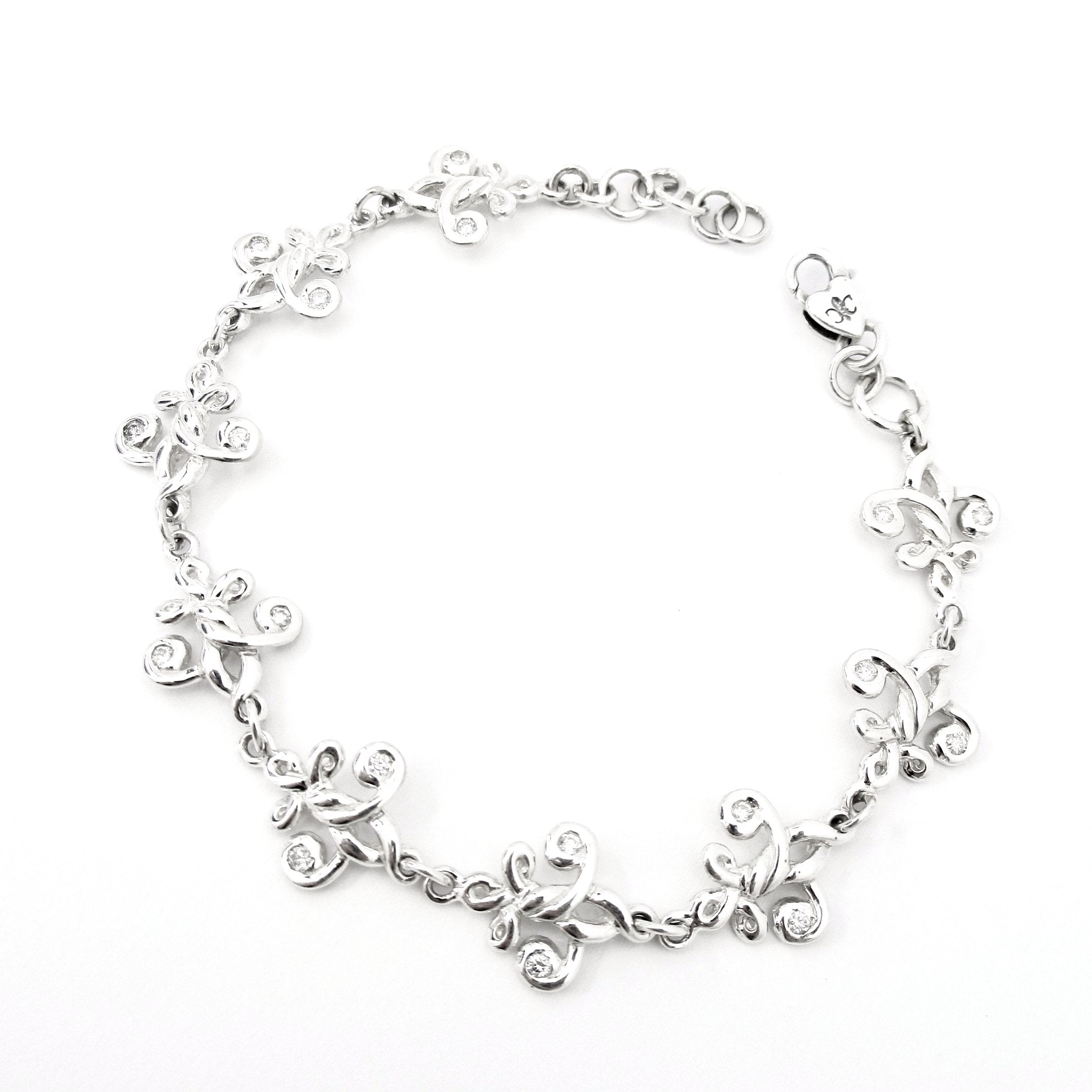 Fleur de Knot Lobster Clasp Bracelet with Diamonds
