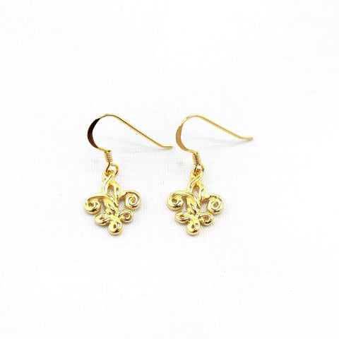 Gold Overlay Fleur de Knot Earrings