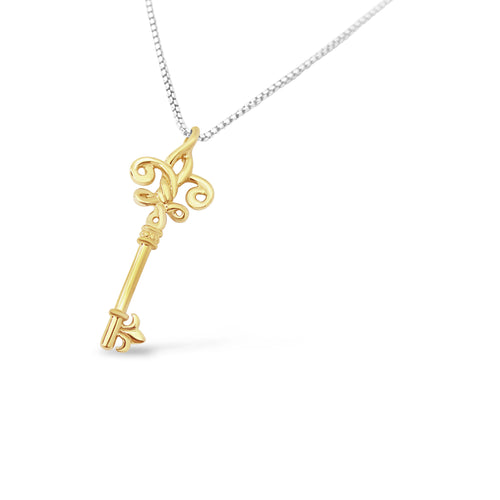 Fleur de Knot Skeleton Key Solid 18K - small
