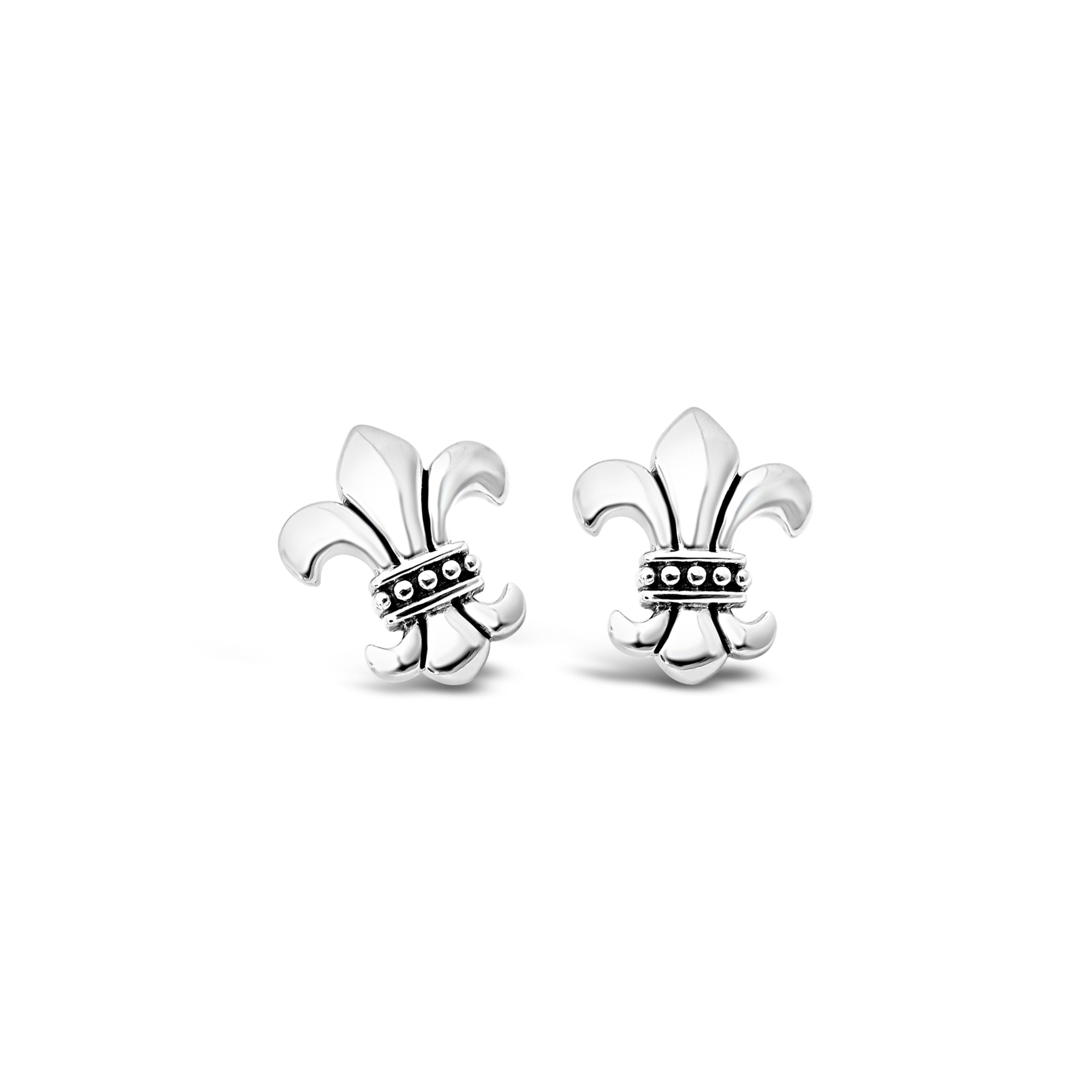 Strength & Courage Fleur de Lis Dainty Earrings