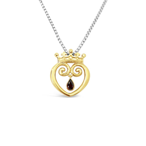 Queen of Hearts Solid 18K with Garnet - Medium