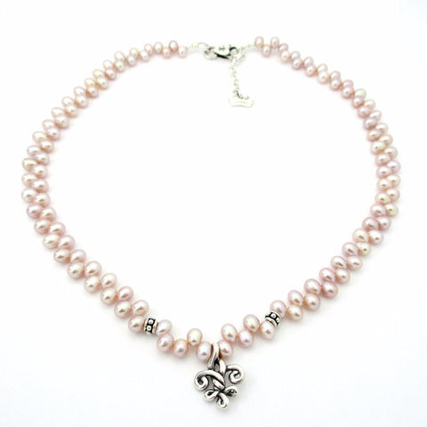 Small Fleur de Knot on Pink Pearls