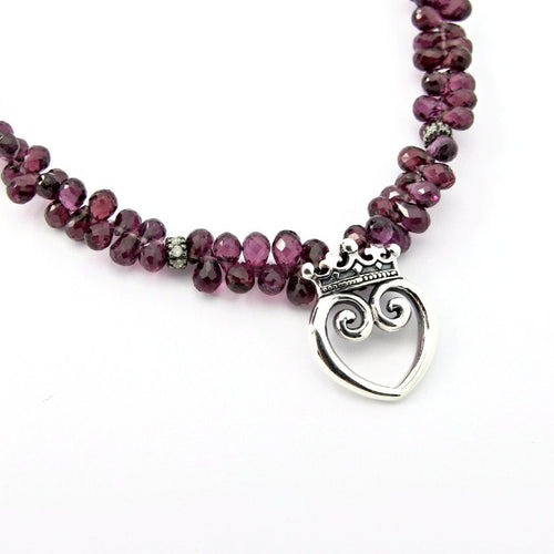Queen of Hearts on Precious Rhondolite Garnet with Diamonds