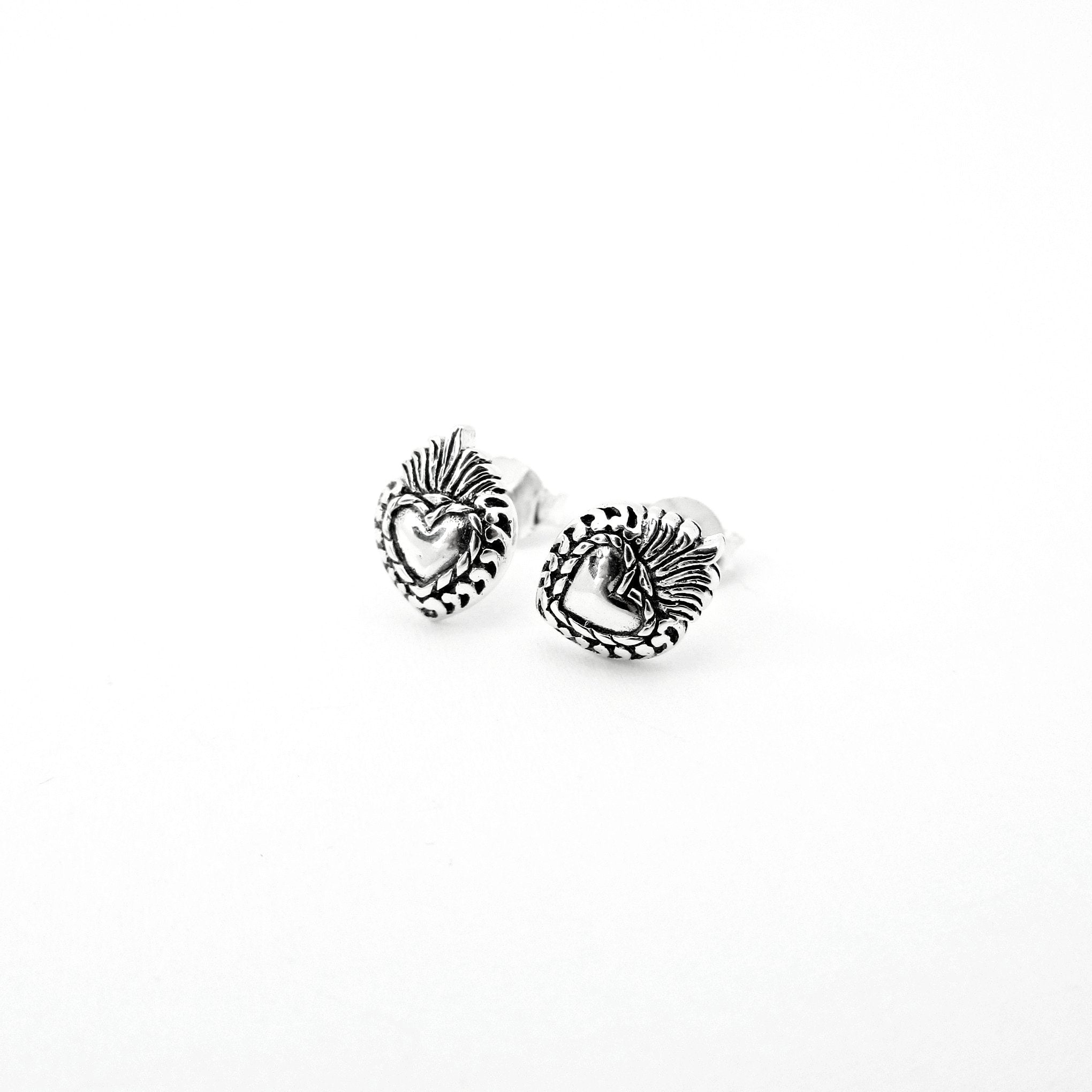 Sacred Heart Mini Stud Earrings