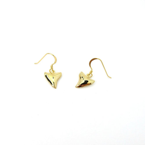 Shark Tooth Dangle Earrings Gold